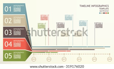 Timeline infographics template with space for mentions and base text - stock vector