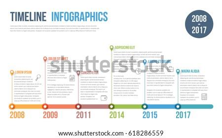 timeline infographics template workflow process diagram em vetor