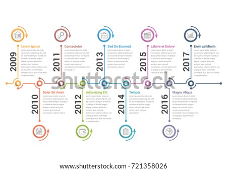 Timeline Infographics Template Workflow Process Diagram Stock Vector - Free timeline infographic template