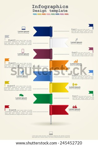 Timeline infographics with elements and icons. Vector illustration Eps8. - stock vector