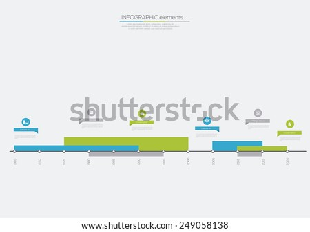 Timeline Lines Infographic. Flat Vector design template. - stock vector