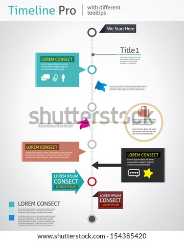 Timeline Pro - different tooltips - vector infographic  - stock vector