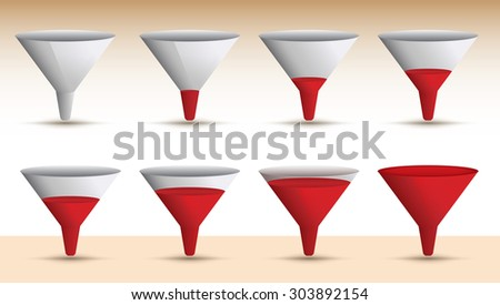 Timeline series of a funnel emptying or filling with a red liquid in a sequence of eight levels, vector illustration - stock vector