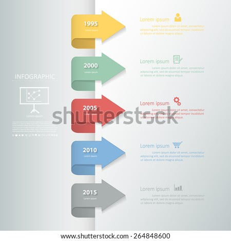 Timeline template for business design, reports, step presentation, number options, progress, workflow layout or websites. - stock vector