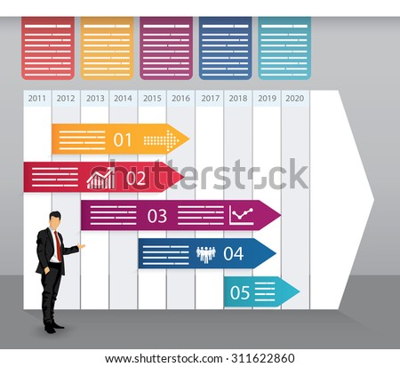 Timeline template with fields for data in time segments - stock vector