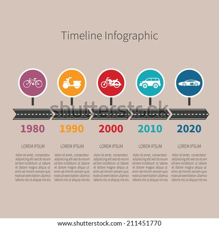 Timeline vector infographic with transport icons and text in retro style - stock vector