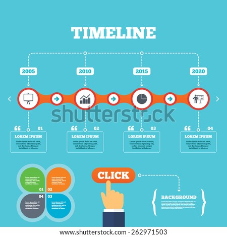 Timeline arrows quotes diagram graph pie stock vector 2018 timeline with arrows and quotes diagram graph pie chart icon presentation billboard symbol ccuart Images