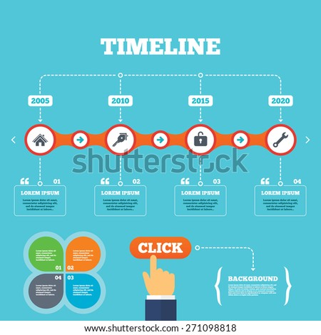 Timeline with arrows and quotes. Home key icon. Wrench service tool symbol. Locker sign. Main page web navigation. Four options steps. Click hand. Vector - stock vector
