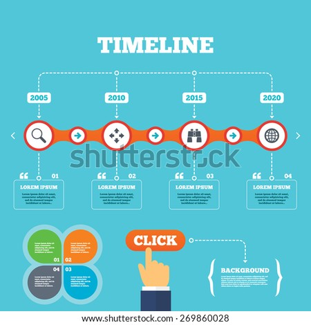 Timeline with arrows and quotes. Magnifier glass and globe search icons. Fullscreen arrows and binocular search sign symbols. Four options steps. Click hand. Vector - stock vector