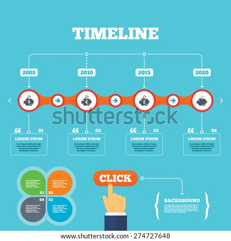 Timeline with arrows and quotes. Piggy bank icons. Dollar, Euro and Pound moneybox signs. Cash coin money symbols. Four options steps. Click hand. Vector - stock vector