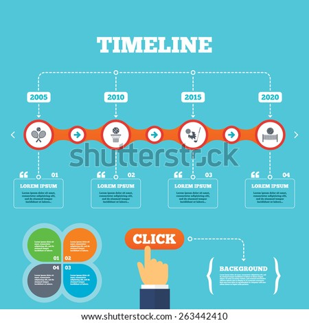 Timeline with arrows and quotes. Tennis rackets with ball. Basketball basket. Volleyball net with ball. Golf fireball sign. Sport icons. Four options steps. Click hand. Vector - stock vector
