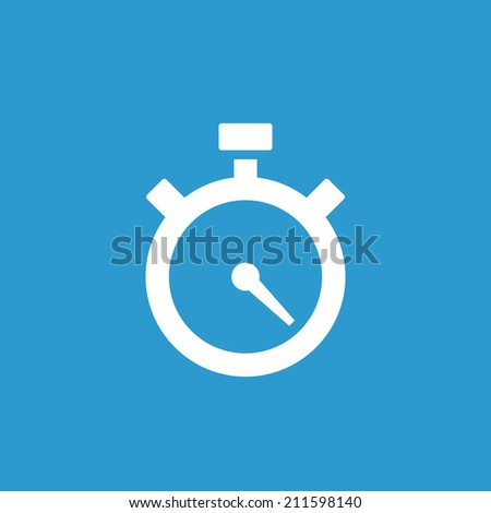 timer icon, isolated, white on the blue background. Exclusive Symbols  - stock vector