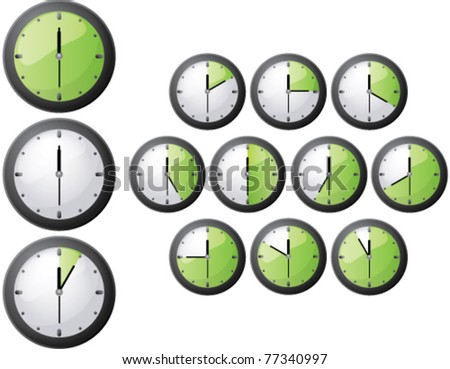 Timer icon set, vector illustration - stock vector
