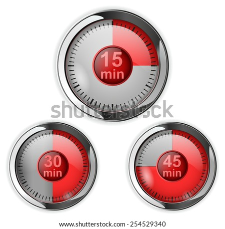 Timer icon with time elapsed - fifteen, thirty, fourty-five minutes - stock vector