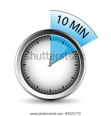 10 Minutes Timer Office Clock Blue Stock Vector 75063379 ...