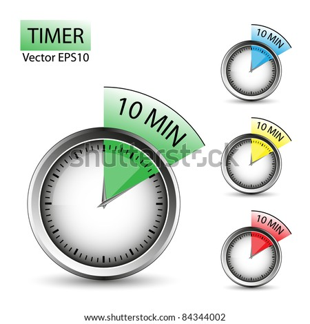 Timer of 10 minutes - vector set. Easy to edit. - stock vector