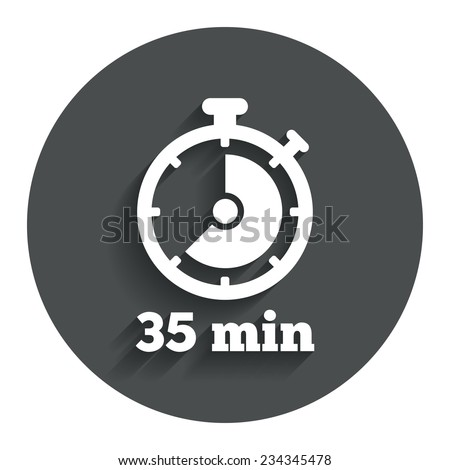 Timer sign icon. 35 minutes stopwatch symbol. Gray flat button with shadow. Modern UI website navigation. Vector - stock vector