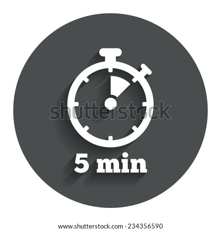 Timer sign icon. 5 minutes stopwatch symbol. Gray flat button with shadow. Modern UI website navigation. Vector - stock vector
