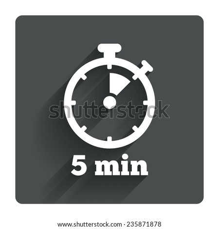 Timer sign icon. 5 minutes stopwatch symbol. Gray flat square button with shadow. Modern UI website navigation. Vector - stock vector