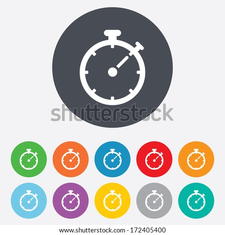 Timer sign icon. Stopwatch symbol. Round colourful 11 buttons. Vector - stock vector