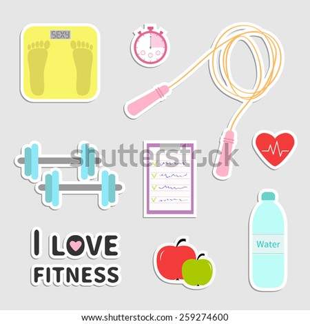Timer water, dumbbell, apple, jumping rope, scale, note heart I love fitness icon set isolated Flat design Vector illustration  - stock vector