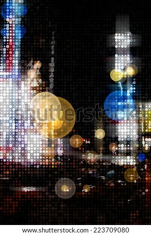 Times Square at Night. Downtown New York City with abstract light effect - stock vector