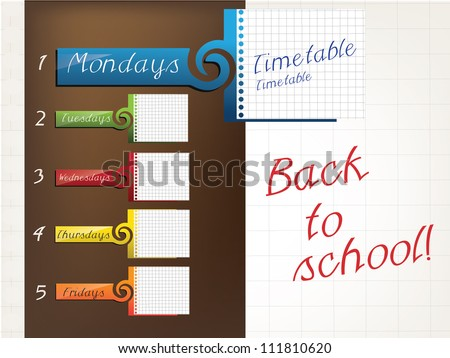 Timetable for student - stock vector