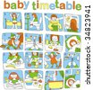 timetable of the day for small baby , which will not die to read - stock vector