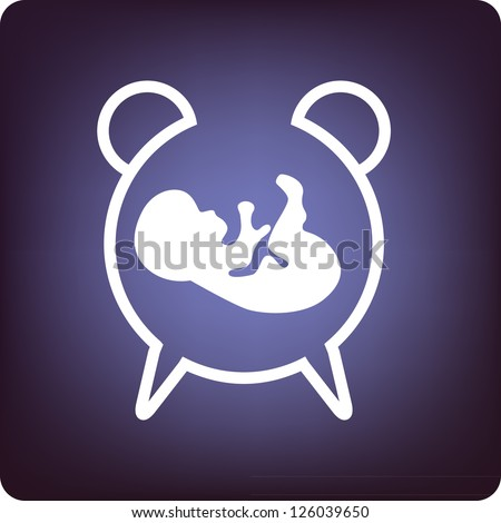 Timing of the baby born - a clock with fetus inside. - stock vector