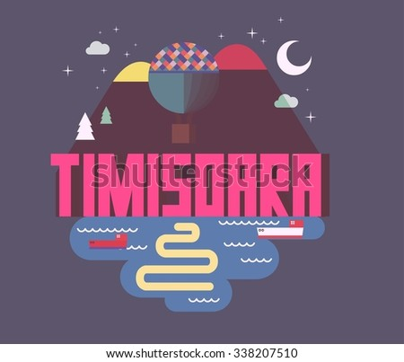 Timisoara beautiful city in europe. vector cartoon illustration