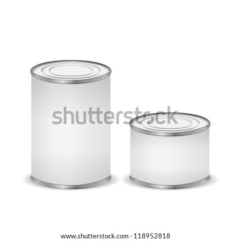 Tin cans isolated on white - stock vector