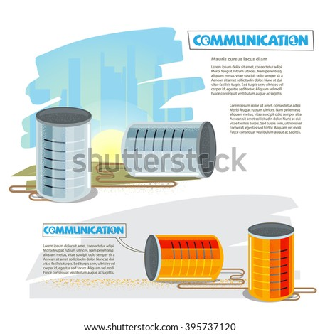 Tin cans to listening or talking together. Can Phone. communication concept - vector illustration - stock vector