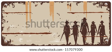 Tin sign cowgirls, vector - stock vector