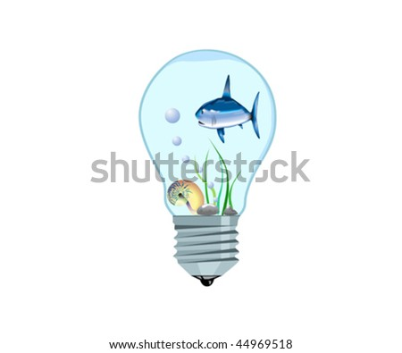 Tiny aquarium with a fish inside an electrical bulb