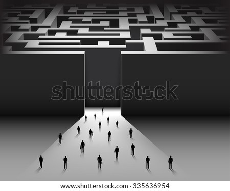 Tiny people entering a maze. Vector illustration - stock vector