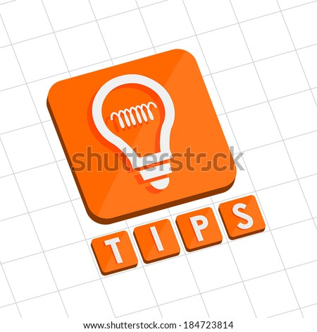 tips and bulb symbol - text with sign in flat design web icon, business support concept, vector - stock vector