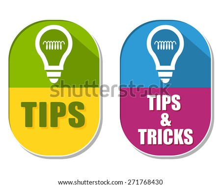 tips and tricks with bulb symbols, two elliptic flat design labels with icons, business support concept signs, vector - stock vector