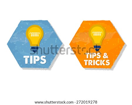 tips and tricks with bulb symbols - white text in colorful grunge flat design hexagons with icons, business support concept signs, vector - stock vector
