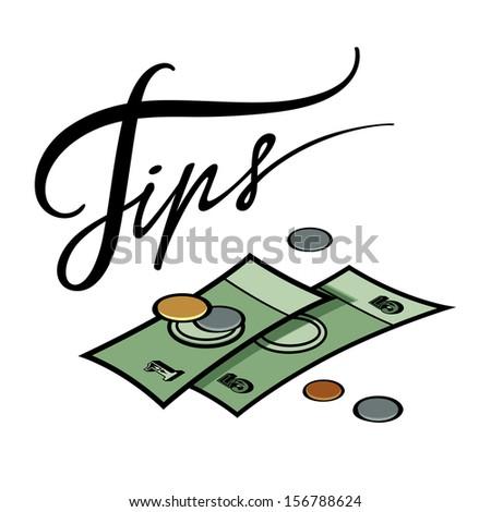 Tips money cash coin hotel resort service - stock vector