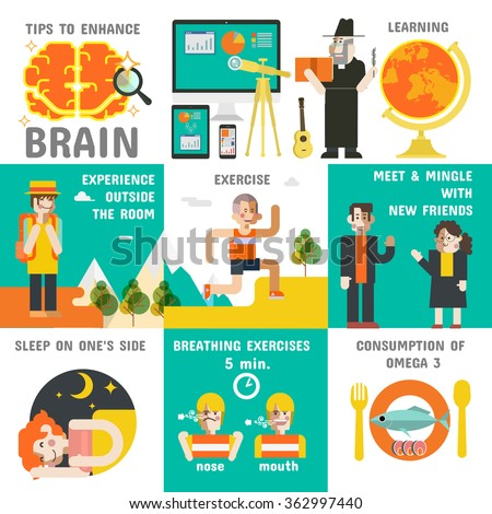 Tips to Enhance Brain, Illustrations vector, how to the brain efficiently. - stock vector