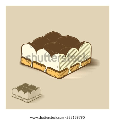 Tiramisu, hand drawn illustration - stock vector