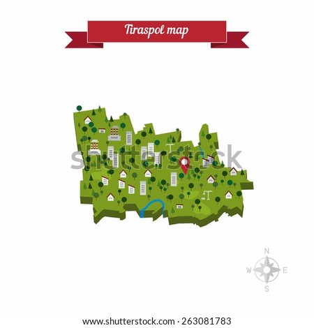 Tiraspol Transnistria Map Flat Style Design Stock Vector 263081783