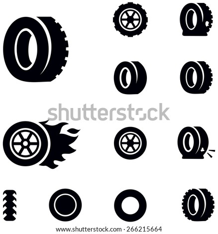 Tire icons - stock vector