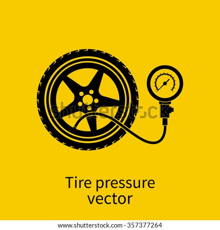 Tire pressure gauge. Checking tire pressure. Gauge, manometer. Car safe concept. Sign, wheel car with instrument measures pressure. Icon tire. Vector illustration - stock vector