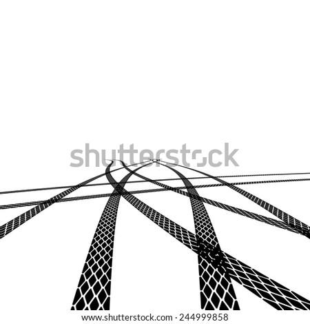 tire prints, vector illustration - stock vector