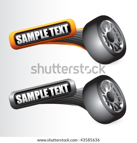 tire rotated on orange and gray tilted banners - stock vector
