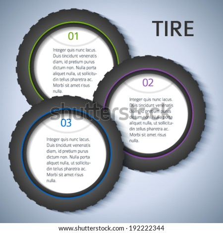 Tire service background with icons design elements & copy space place for your text. Modern business presentation template for car tire change flyer. Abstract vector illustration eps 10 for brochure - stock vector