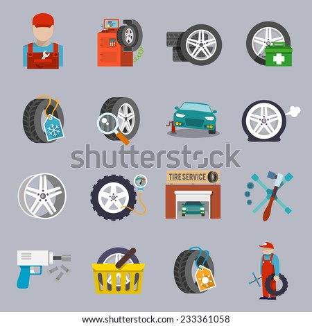 Tire service car auto mechanic repair icons flat set isolated vector illustration - stock vector