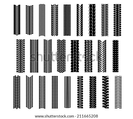 Tire shapes set isolated on white background, suitable for transportation and sport racing design - stock vector