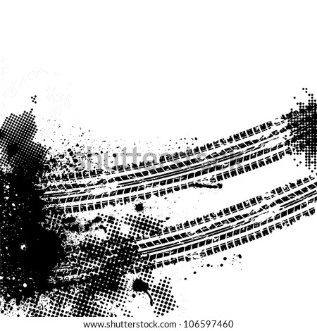 Tire track background with halftones and splash - stock vector